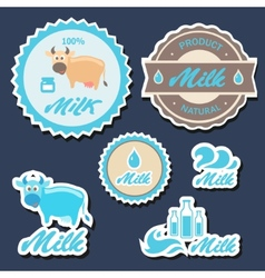 Set of labels and icons for milk in vector