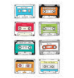 set plastic cassette audio tape with different vector image