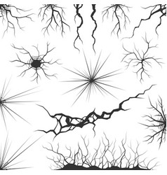Set various cracks ripples and fissures vector