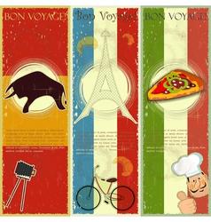 set vintage travel postcard vector image