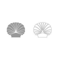 shell grey set icon vector image