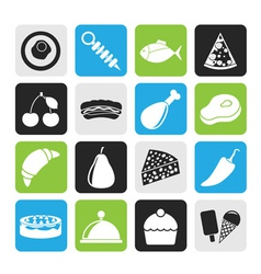Silhouette Different kind of food icons vector