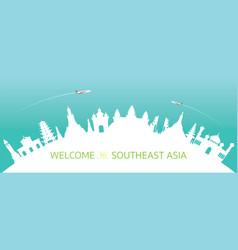 Southeast asia skyline curve landmarks silhouette vector
