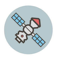 Space station with solar panels vector