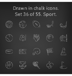Sport icon set drawn in chalk vector