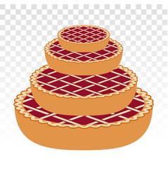 Stack apple pie cakes cherry pie - flat icons vector