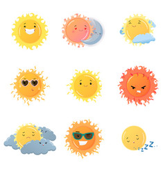 sun emoji stickers set isolated on white vector image