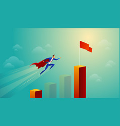 Super businessman in red jump bar chart flying to vector