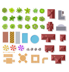 top view garden elements aerial houses green vector image