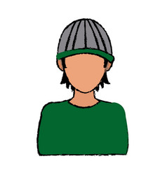 Toung man hacker wear cap concept vector