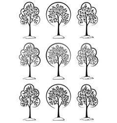 trees black pictograms vector image