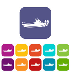 Turkish shoes icons set flat vector