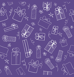 Ultra violet color background with gift boxes vector