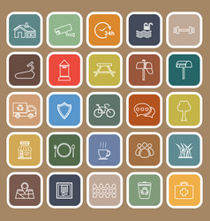 village line flat icons on brown background vector image
