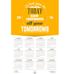 Wall calendar poster for 2018 year with vector