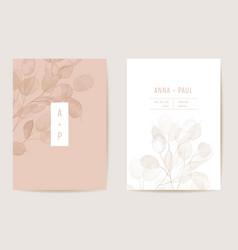 Watercolor wedding dry honesty flower invitation vector