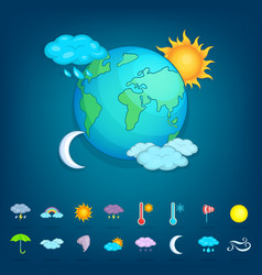 Weather symbols concept planet cartoon style vector