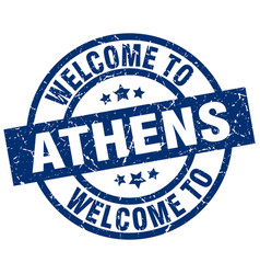Welcome to athens blue stamp vector