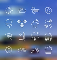 white outline forecast icons set landscape vector image