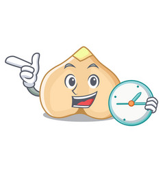 With clock chickpeas character cartoon style vector