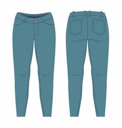 Womens dark blue jeans vector