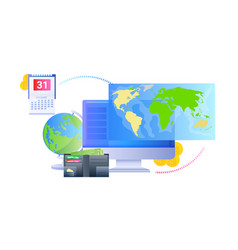 world map on computer monitor global network vector image