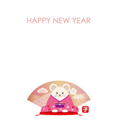 year rat greeting card template vector image