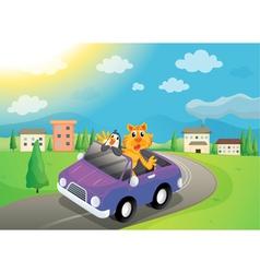 animals in car vector image