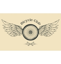 Bicycle Wheel with feathers vector image vector image
