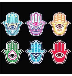 Hamsa hand hand of fatima - amulet symbol of pro vector