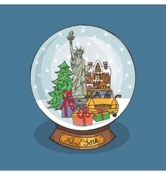 New york Christmas Snow globeDoodle city vector image vector image