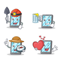 Set of tablet character with miner juice explorer vector