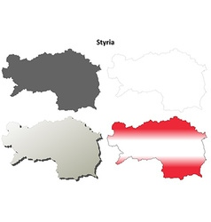 Styria blank detailed outline map set vector image vector image