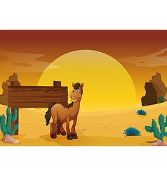 Wooden sign in the western desert ground vector image