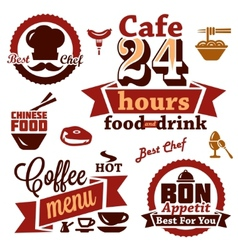 food and restaurant labels icons vector image