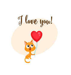 i love you card with cat holding heart shaped vector image vector image