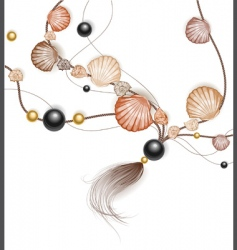 necklace made of sea shells vector image