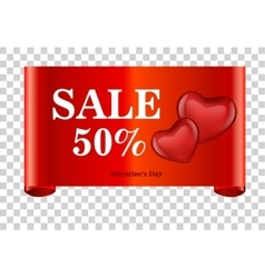 red discount 50 percent off and sale on red ribbon vector image