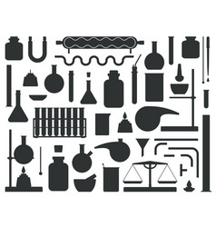 set of chemical lab equipment silhouette vector image