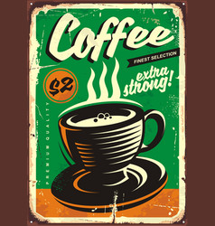 coffee vintage tin sign vector image