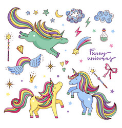 funny set with rainbow unicorn and other vector image vector image