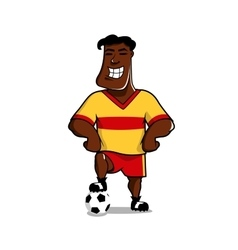 Victorious soccer player posing with a ball vector image