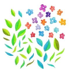Watercolor floral elements vector