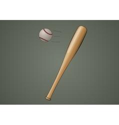 Baseball bat with ball vector image vector image