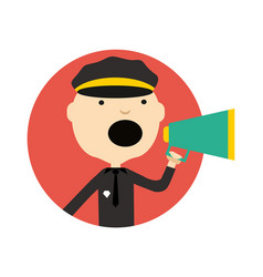 policeman in uniform with megaphone icon vector image