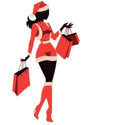 Woman Shopping for Christmas vector image vector image