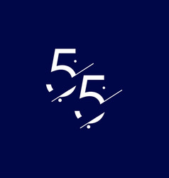 55 years anniversary celebration elegant number vector