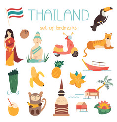 big cartoon set of thai landmarks symbols animals vector image
