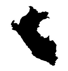 Black silhouette country borders map of peru on vector