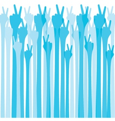 blue hand show victroy sign background vector image